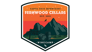 Fernwood Cellars Winecamp graphic with mountains, wine barrels, vineyard and bird in the background
