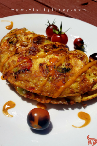 Garlic veggie omelet with cherry tomatoes